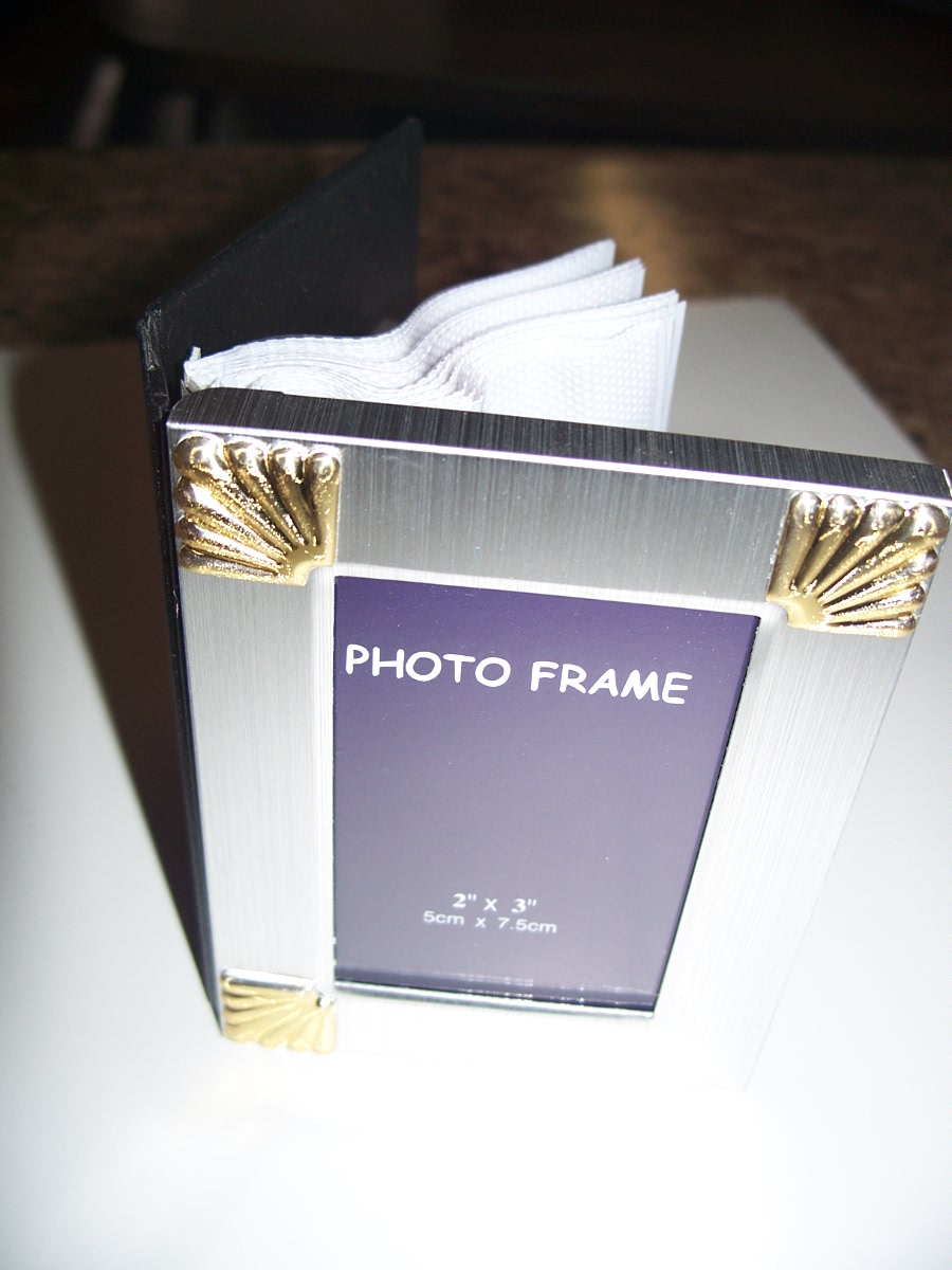 "Silvery with Foursquare Golden Frame Picture Frame Size 2"" x 3"""