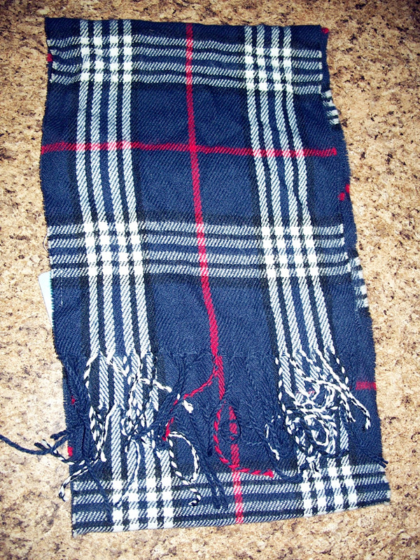 Unisex Winter Scarf White and Blue Plaid