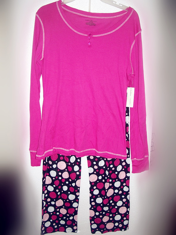 2 Piece Bobbie Brooks Sleepwear Sz L 12/14 Pink and Colored dots