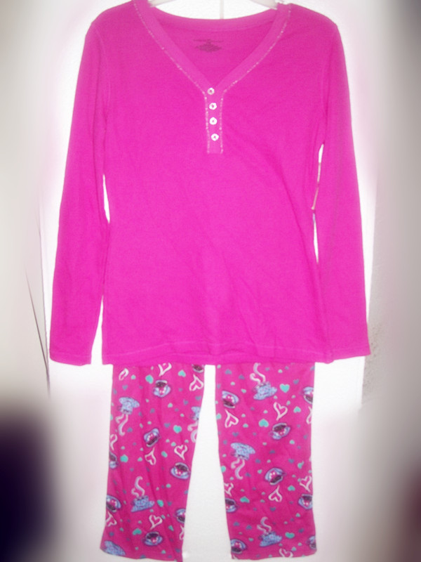 2 Piece Bobbie Brooks Sleepwear Sz S 6 Pink and Coffe Cups