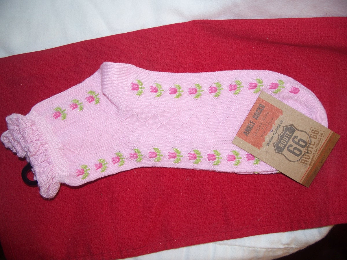 Route 66 Ankle Socks SZ9-11 Pink with Flower