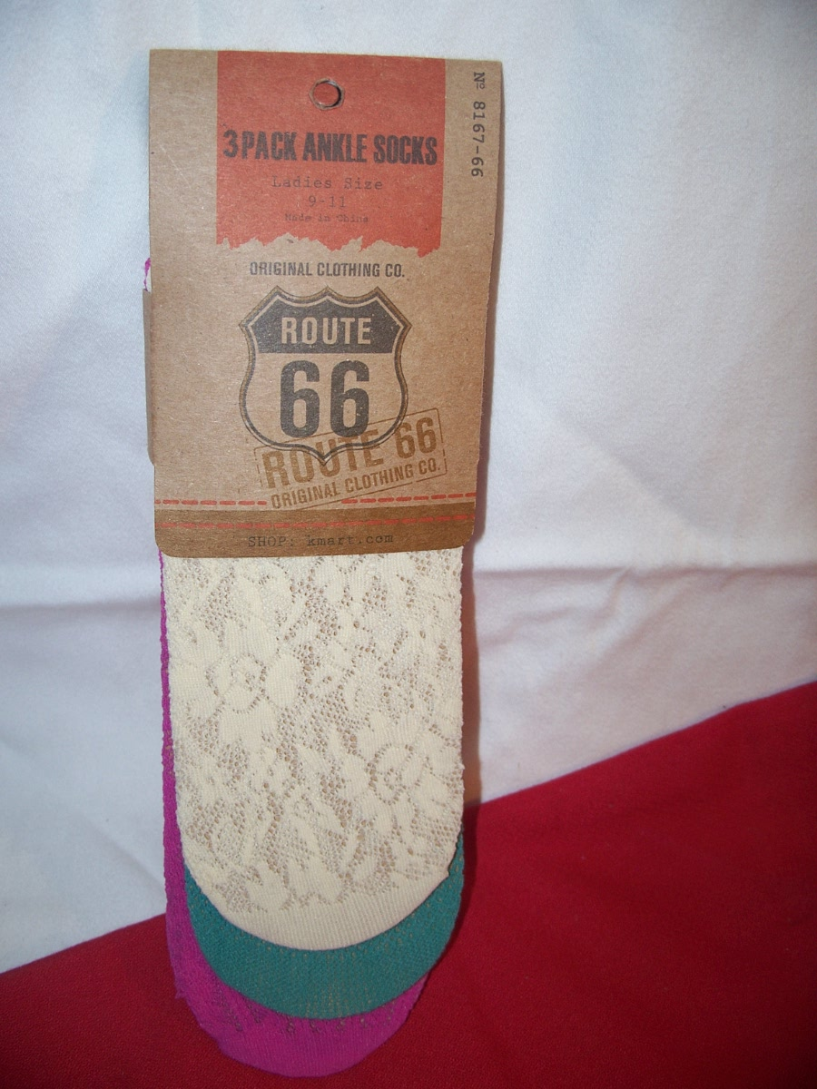 Route 66 3 Pack Ankle Socks SZ 9-11(Cream,Green,Purple)