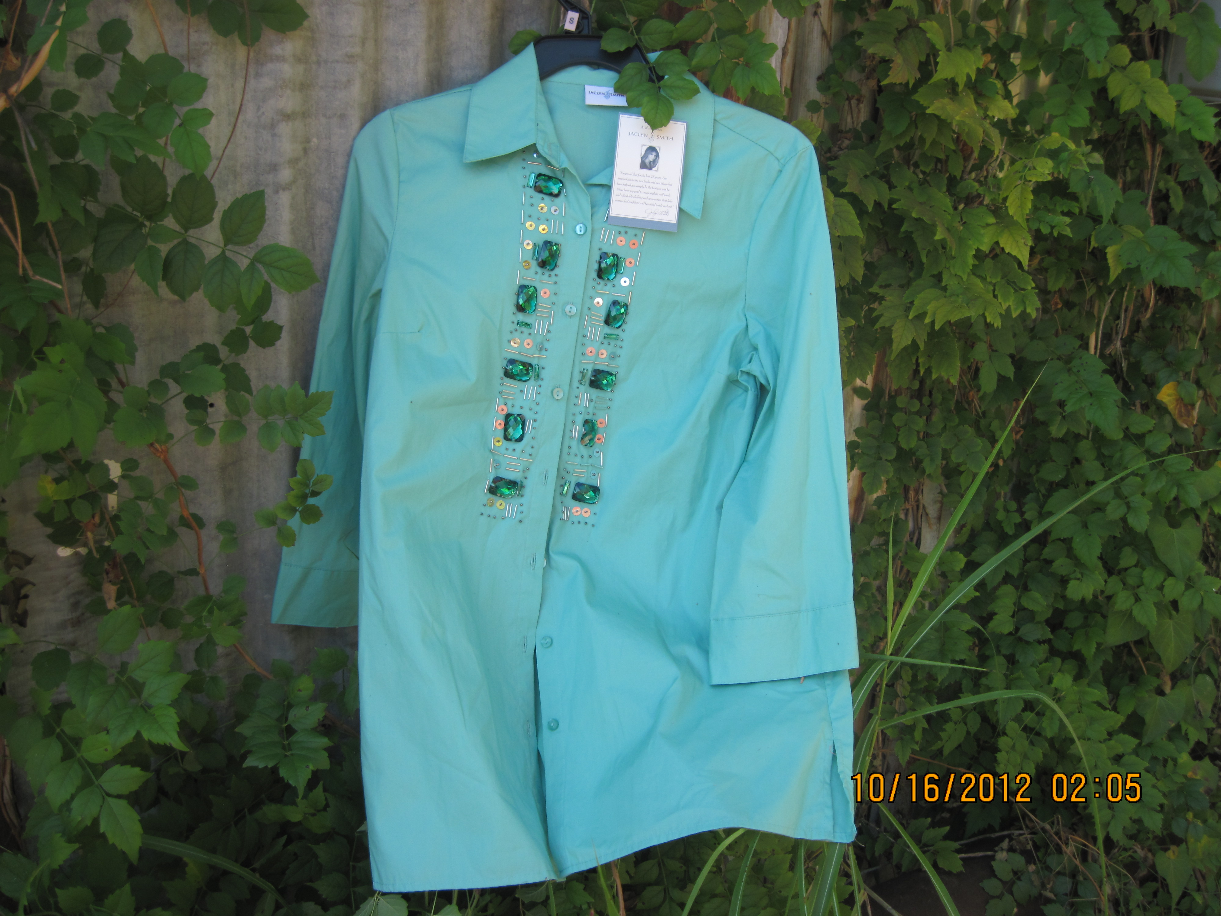 Jaclyn Smith Sz S Womens Casual Separate Green Jeweled