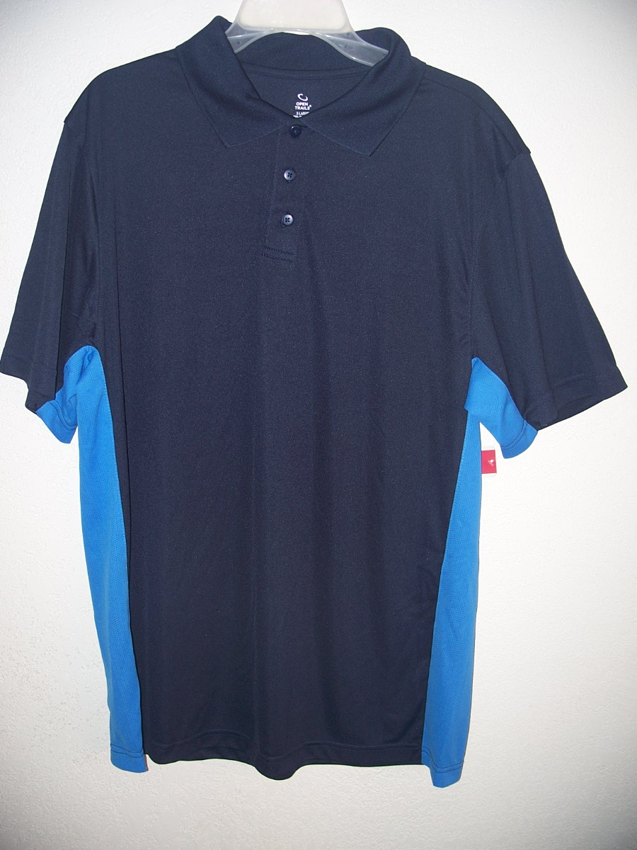 Open Trails Sz L Mens Dark Blue/Blue down Sides Shirt