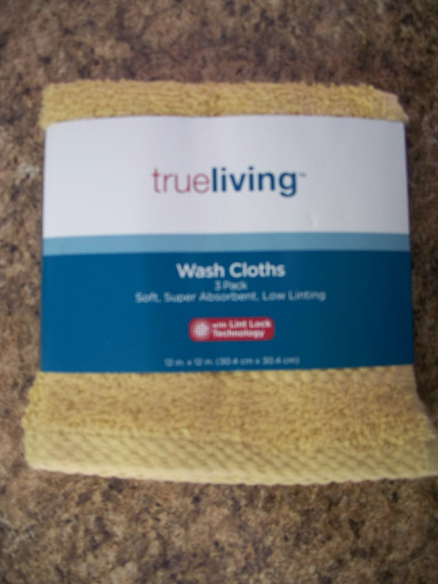True Living Wash Cloths 3 pk (Gold )