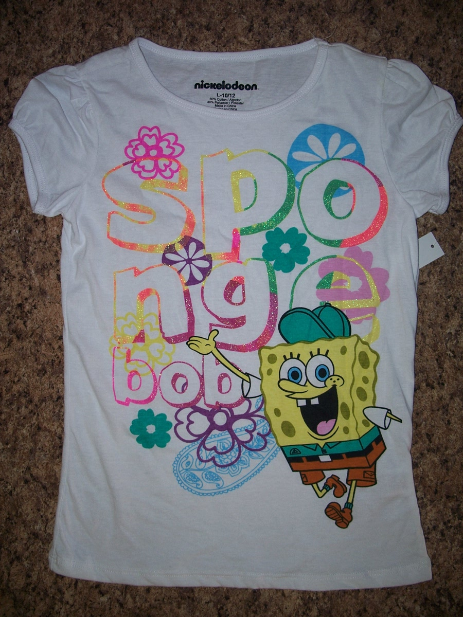 Nickelodeon Sponge Bob Sz L10-12 White with Flower Shirt