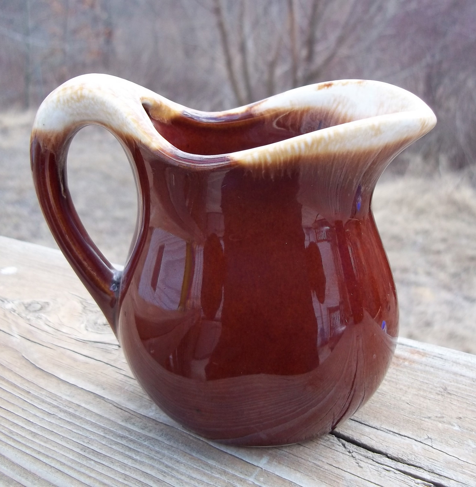 Vintage McCoy Pottery Brown Drip Cream Pitcher USA