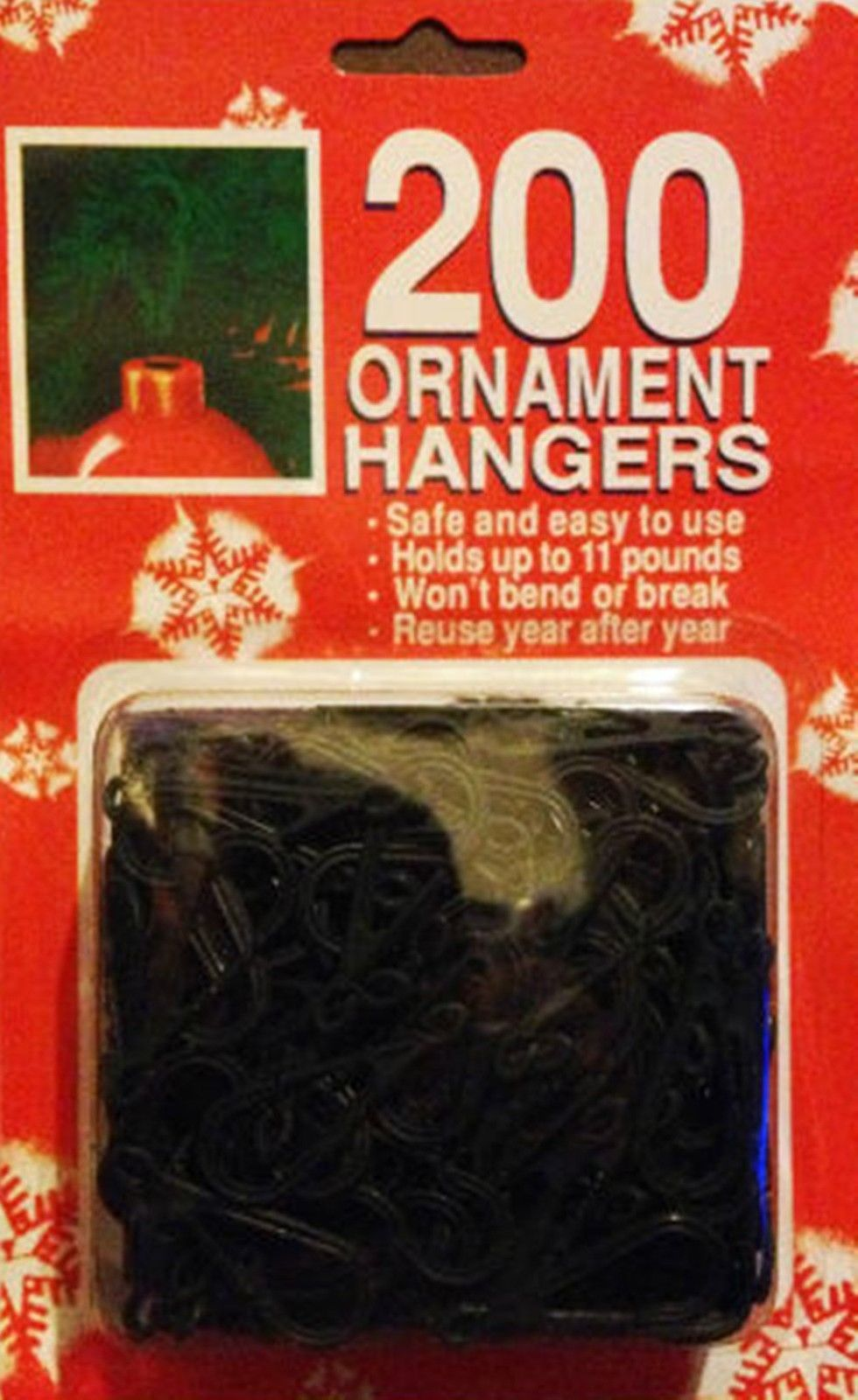 Pack of 200 Christmas Tree Ornament Bauble Hangers