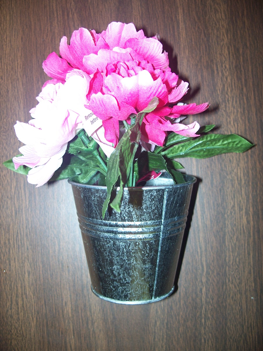 Pink Flowers in a Silver Pail