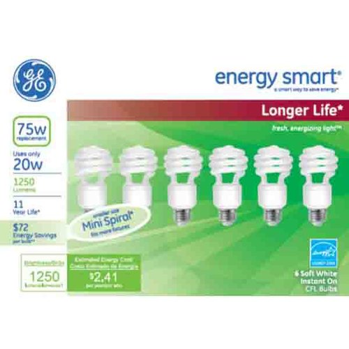 GE Energy Smart CFL 20W T2 Soft White, 6pk