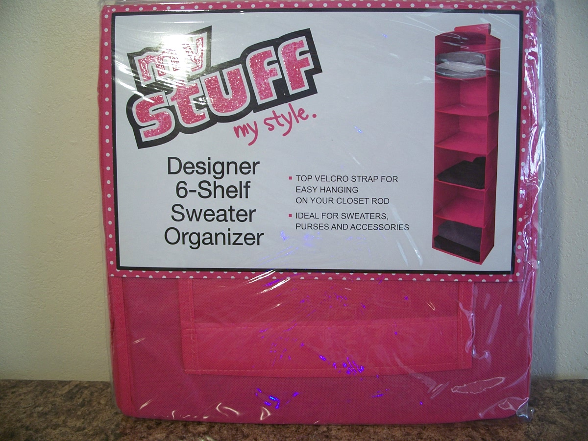 Hanging Sweater Organizer 6-Shelf Pink