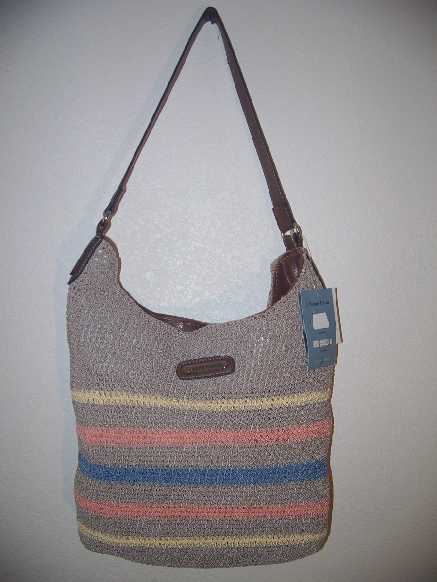 Jaclyn Smith Super Totes Hobo (Tan W/Yellow,Orange,Blue)