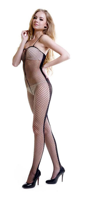 SE-116 Sexy Black Sheer Mesh Cami Body Stocking With Special Bac