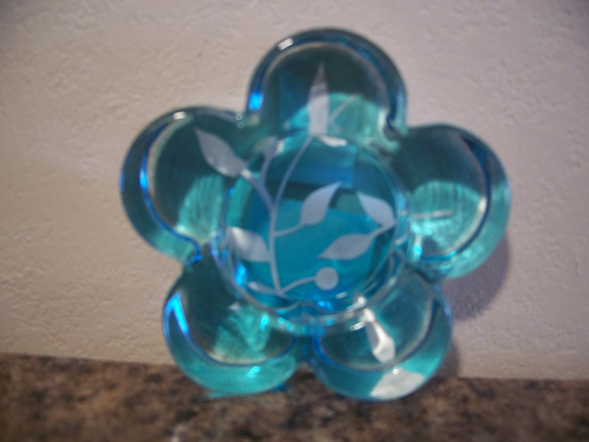 Candle Holder (blue flower )