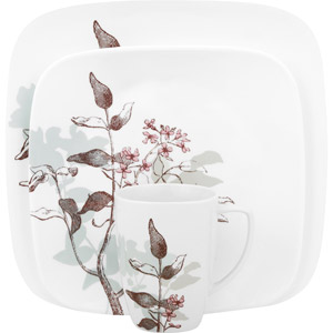 Corelle Squares Twilight Grove Dinnerware 16-Piece Place setting