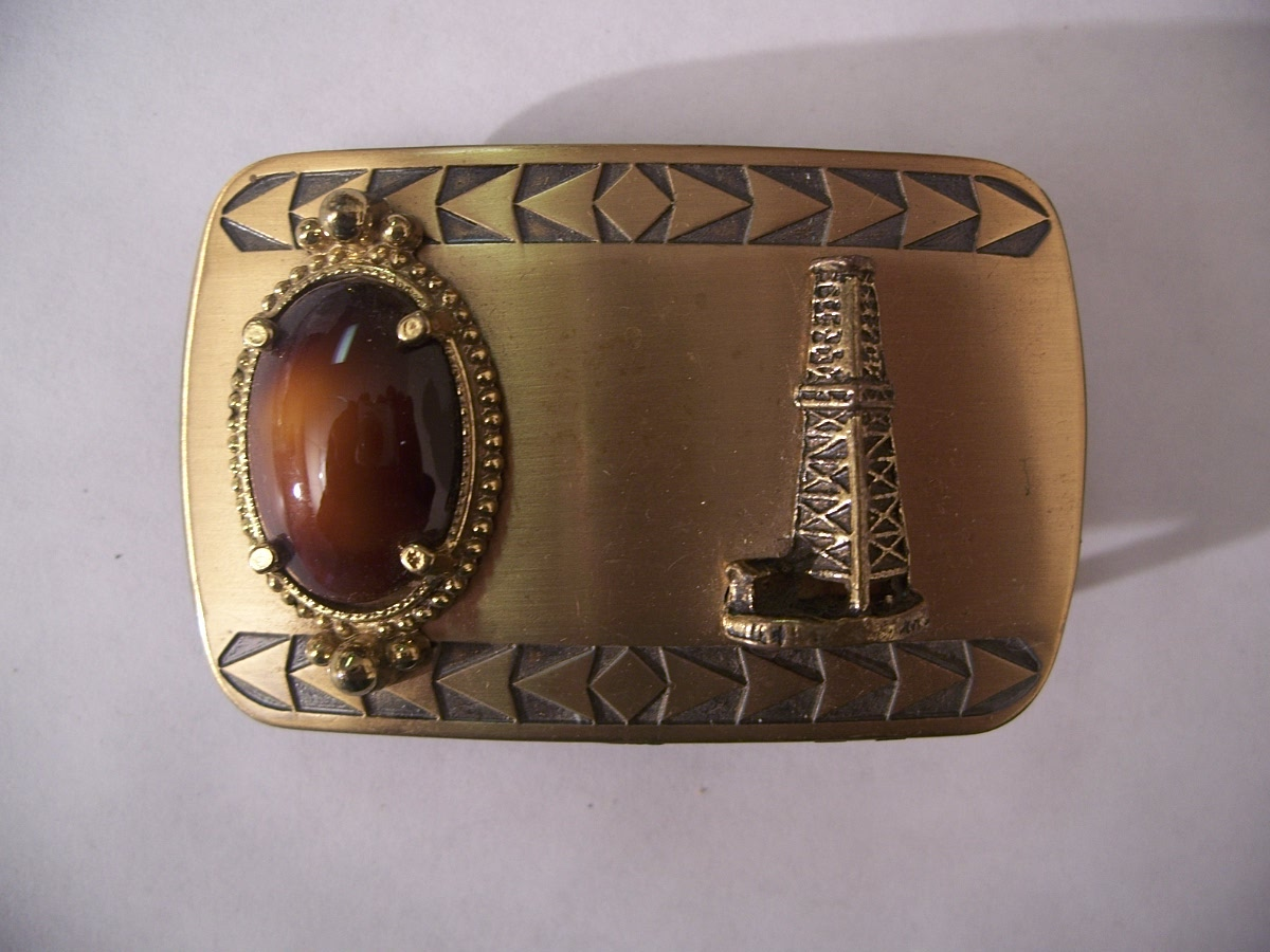 Oil Industry Belt Buckle Drk Amber Stone & Rig