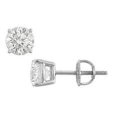 14K White Gold Round Diamond Stud Earrings 1.75 CT. TW.