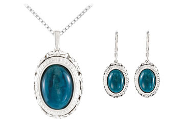 Sterling Silver Genuine Opaque Apatite Earrings and Pendant Set