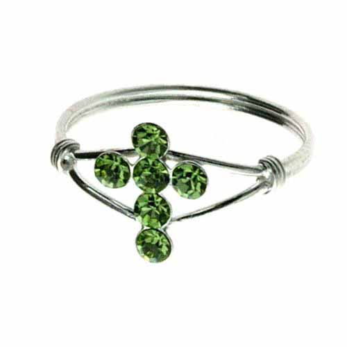 Sterling Silver Light Green Cubic Zirconia Cross Junior Ring