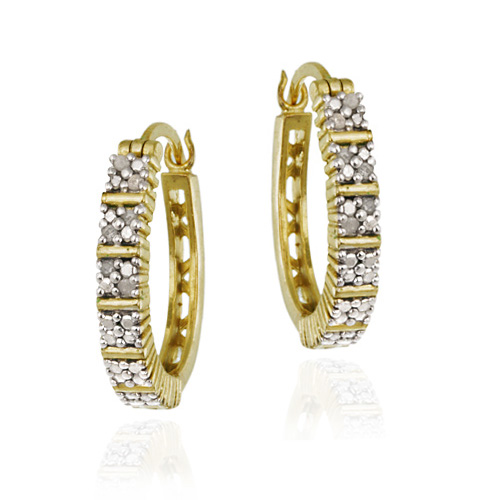 18K Gold over Sterling Silver 1/8ct. TDW Pave Set Oval Hoop Earr