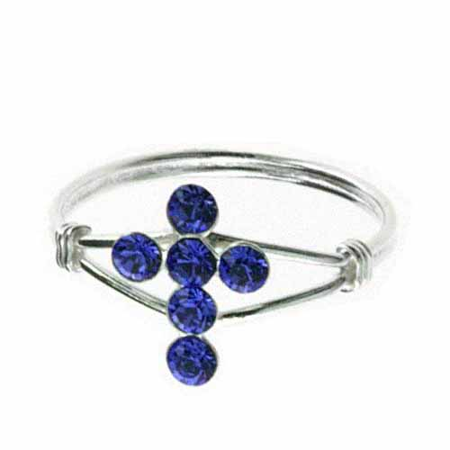 Sterling Silver Dark Blue Cubic Zirconia Cross Junior Ring