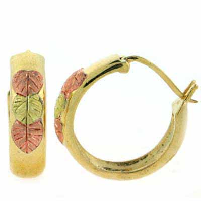 18K Gold over Sterling Sillver Tri Color Gold Leaf Hoop Earrings