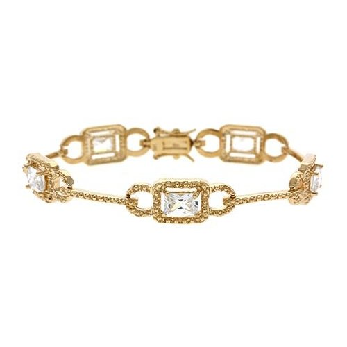 18K Gold over Sterling Silver CZ Link Bar Bracelet