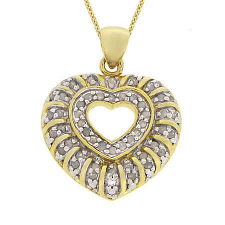 18k Gold over Silver 1/2 ct. TDW Genuine Diamond Heart Pendant
