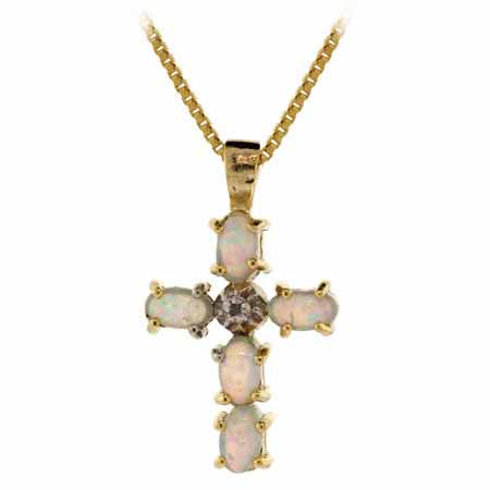 18K Gold over Sterling Silver Created Opal and Diamond Accent Cr