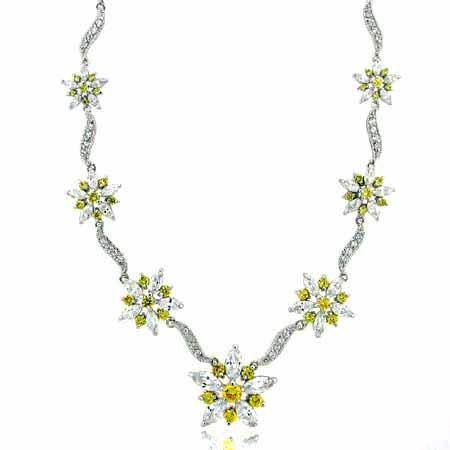 Sterling Silver Yellow cz Flower and Simulated Diamond CZ Neckla