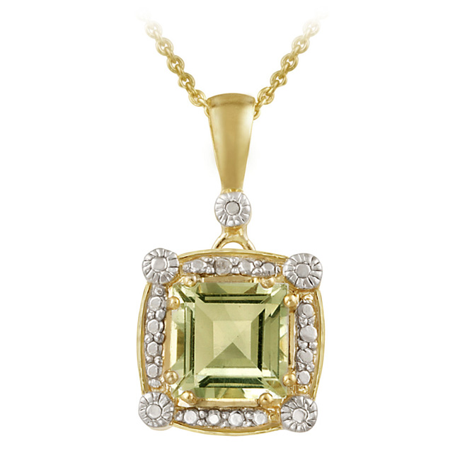 18K Gold over Sterling Silver 2.35ct Green Amethyst Diamon
