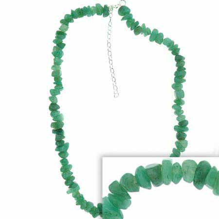 Sterling Silver Genuine Aventurine Chip Necklace