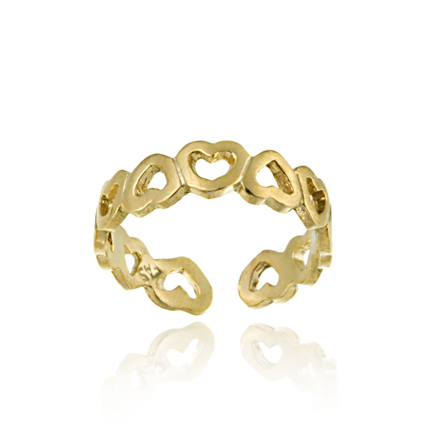18K Gold Over Sterling Silver Filigree Open Hearts Toe Ring