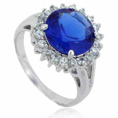 Celebrity Large Simulated Tanzanite CZ Stone and Simulated Diamo