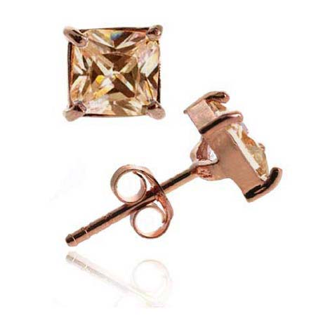 18K Rose Gold over Sterling Silver Champagne CZ 5mm Square Stud