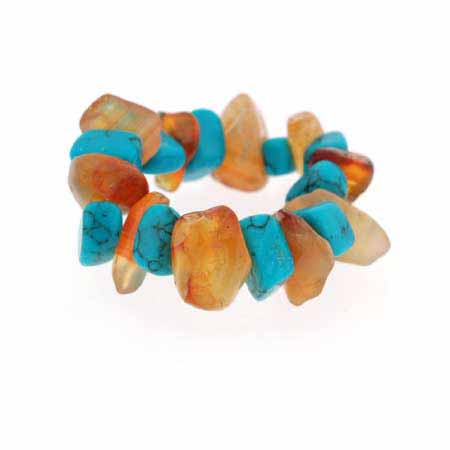 Genuine Carnelian and Reconstituted Turquoise Chip Stretch Ring