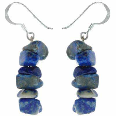 Sterling Silver Genuine Denim Lapis Chip Earrings