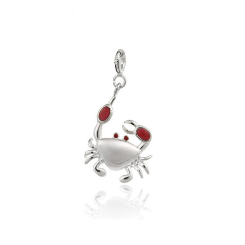 Sterling Silver Red Enamel Crab Charm