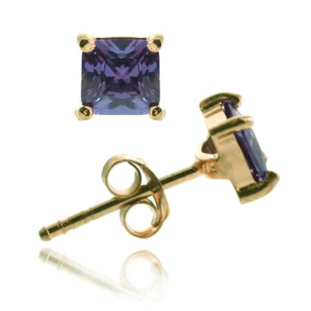 18K Gold over Sterling Silver Purple CZ 6mm Square Stud Earrings