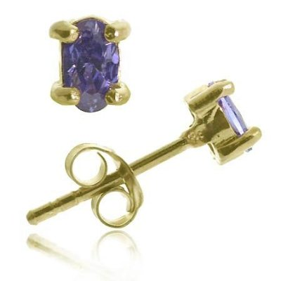 18K Gold over Sterling Silver Tanzanite CZ 6x4 Oval Stud Earring