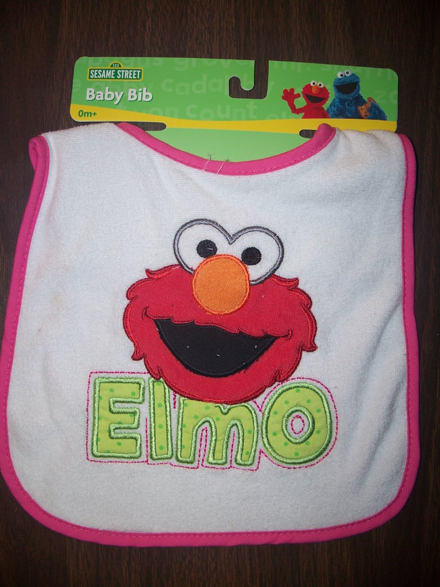 Sesame Street Bib Elmo (white with pink trim)