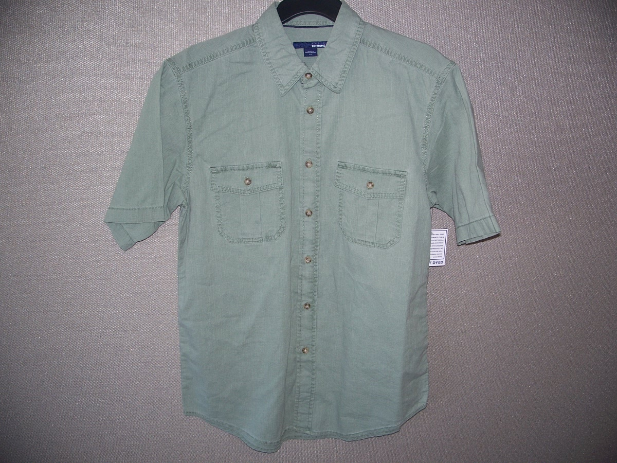 Basic Editions Sz S Crosshatch Shirt Green