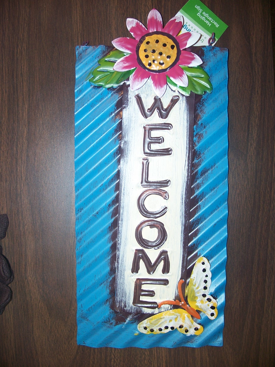 Hanging Rectangle Sign (Welcome with flower& butterfly)
