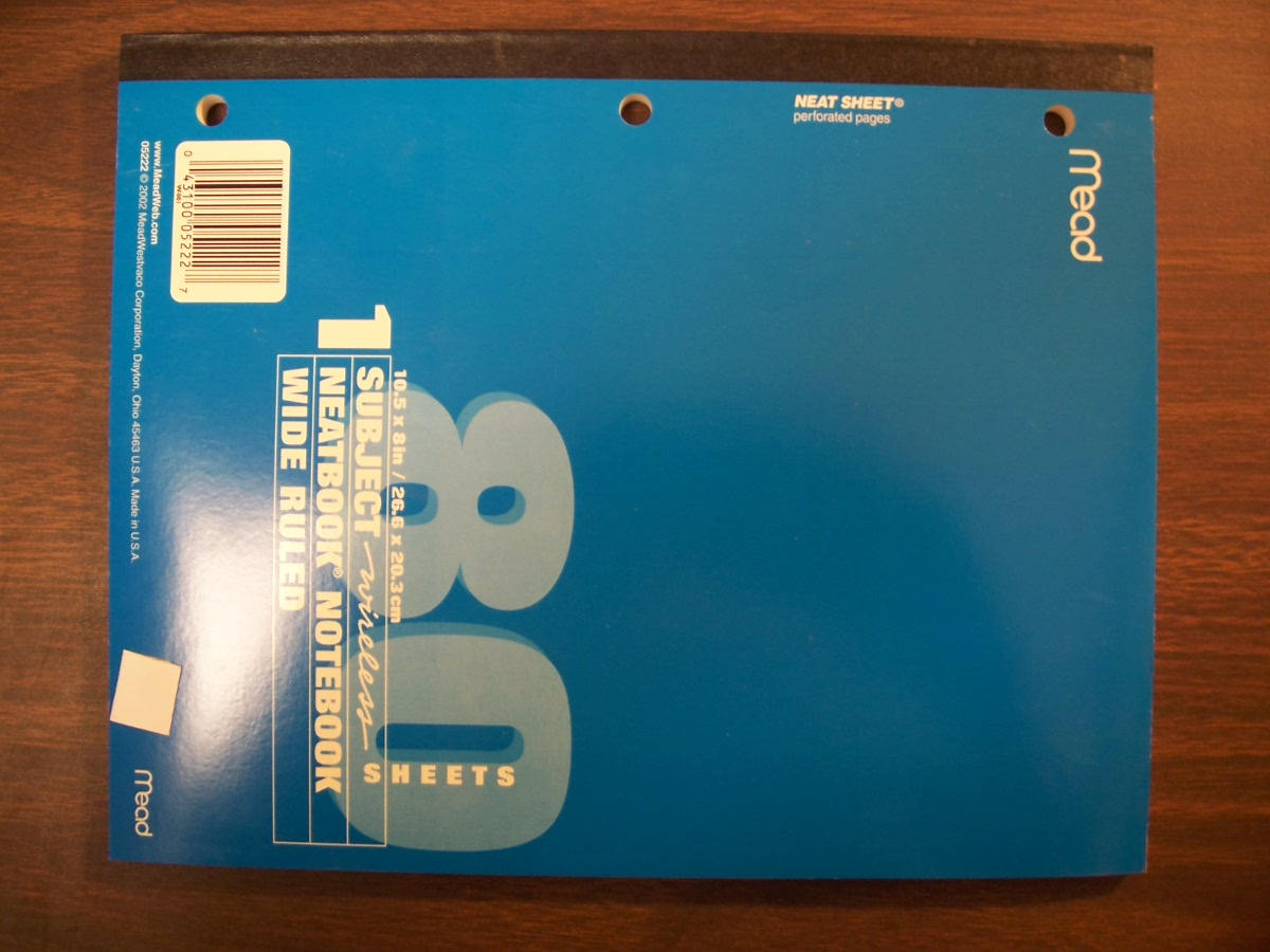 Mead Wide Ruled Notebook Light Blue - 80ct