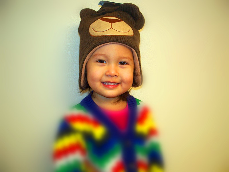 Stocking Cap / Hat Boys Acrylic Cute Bear Brown