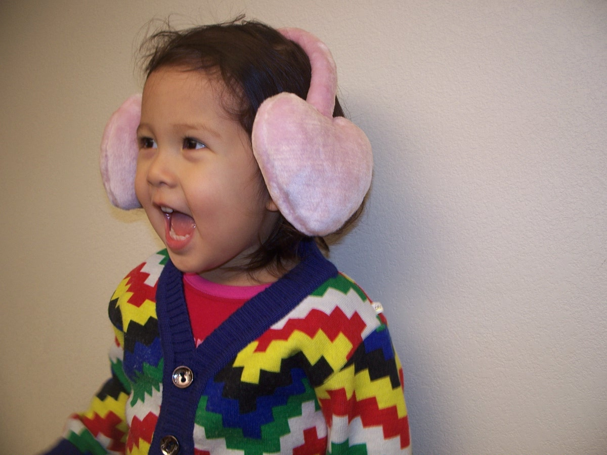 PINK HEART PLUSH WINTER EAR COVER MUFFS WARMERS kids size