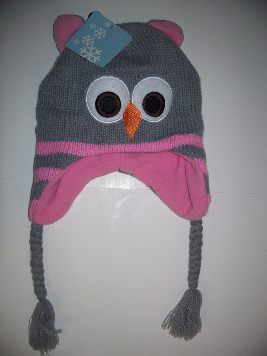 Acrylic Girl Hat With A Funny Bird Face Gray and Pink kids size