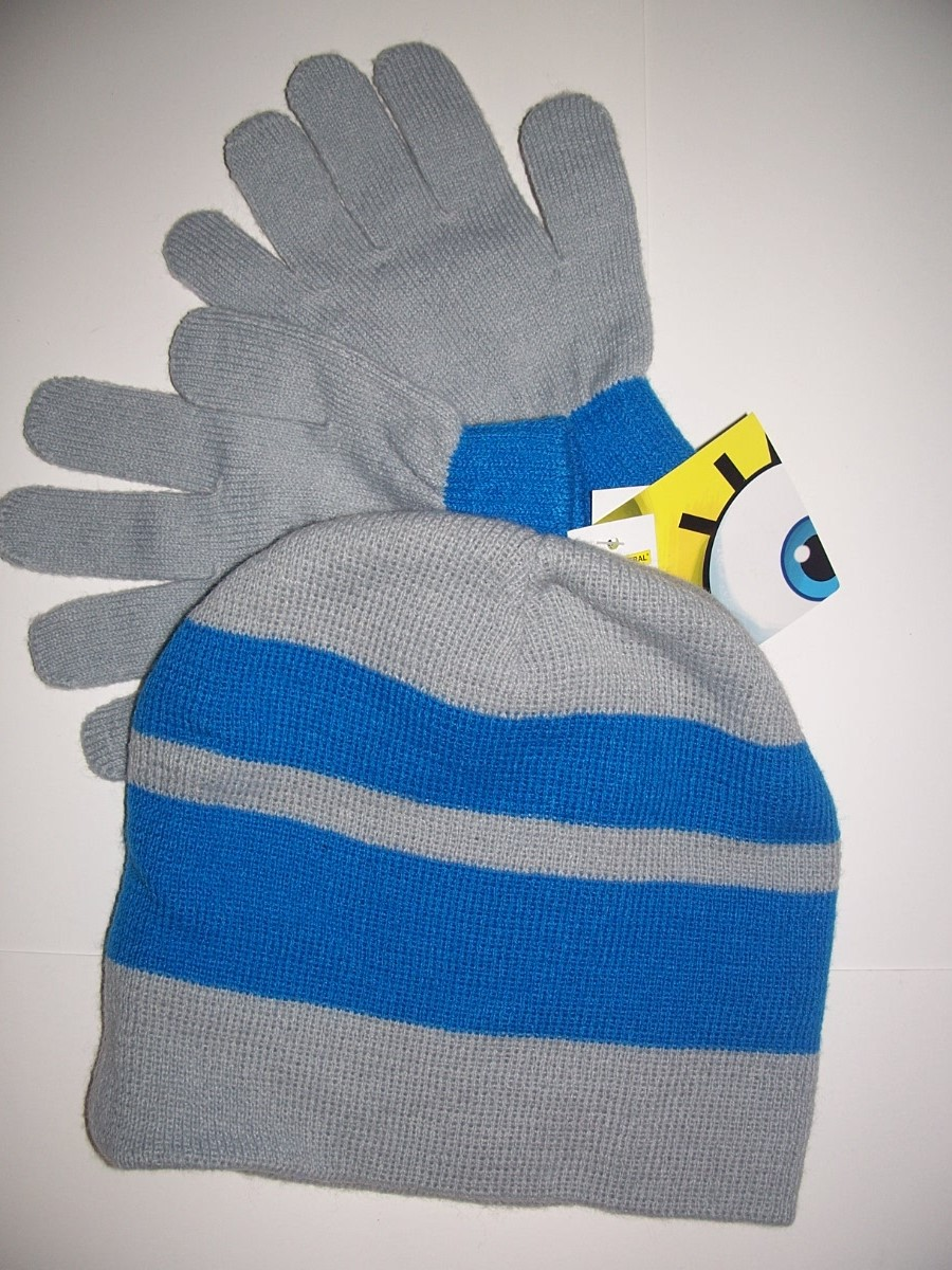 SPONGE BOB Ski Bum Boys HAT & GLOVES - Blue Gray