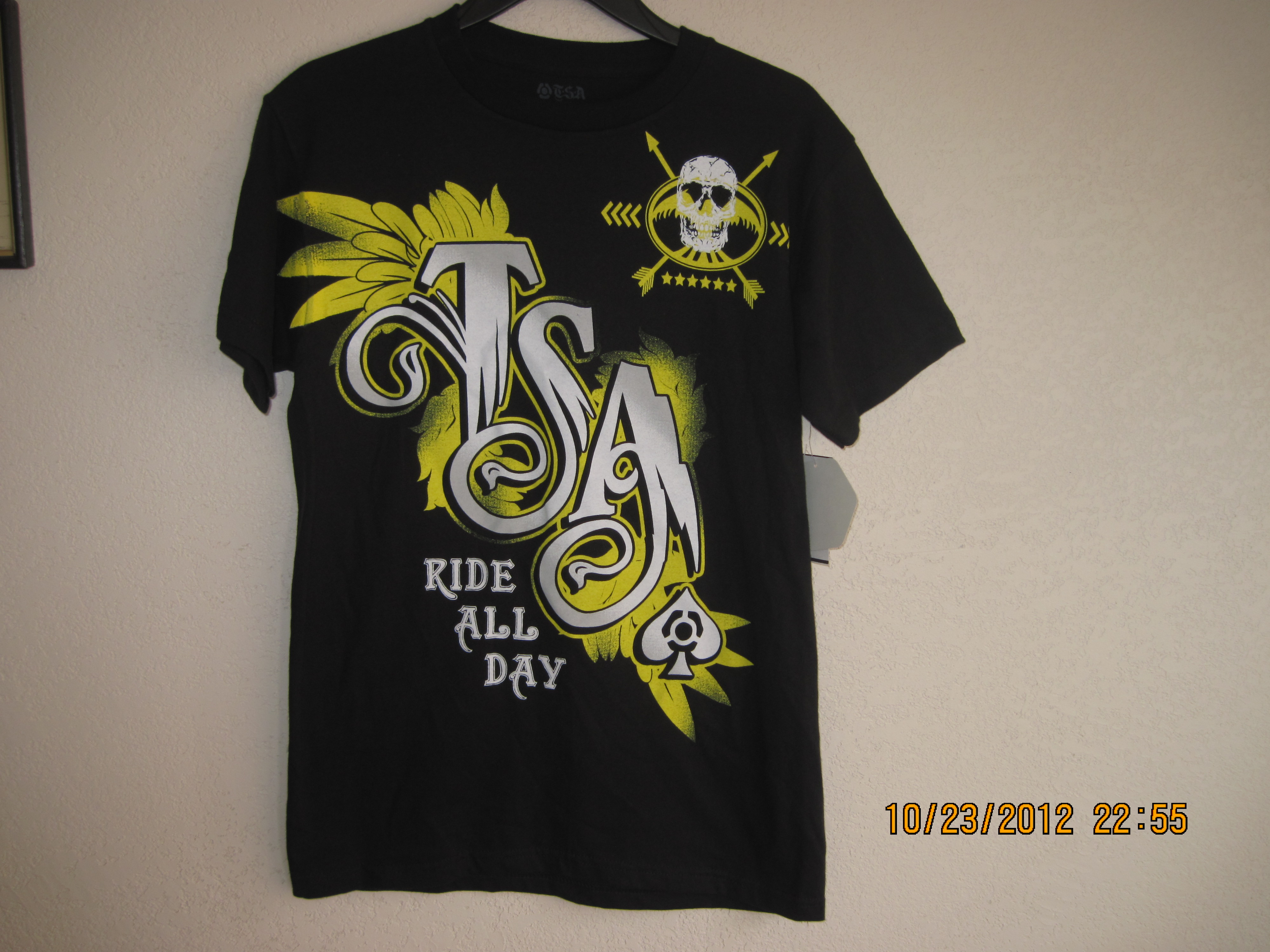 T.S.A MX Sz m T-Shirt with Ride All Day,Skull,T.S.A