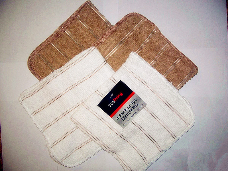 Trueliving 4 Pack Dishcloths 12in x 12in White And Brown